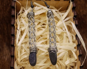 Stainless Steel Viking Knit and Blue Goldstone earrings with stainless steel posts (399)