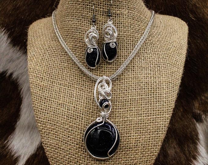Featured listing image: Mjúklynd Menreið - Sterling Silver and Blue Goldstone Viking Knit necklace, bracelet, and earrings set
