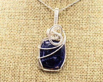 Sterling Silver wrapped Sodalite pendant