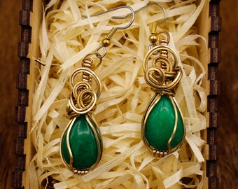 Bronze wrapped Malaysian Jade earrings with stainless steel posts