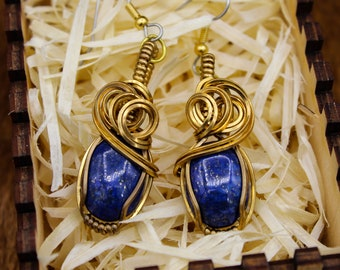 Bronze wrapped Lapis Lazuli earrings with stainless steel posts