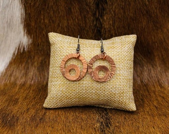 Hammered Copper earrings with stainless steel posts (553)