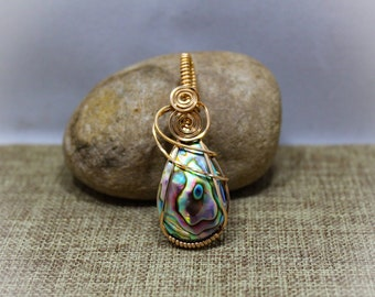 Bronze wrapped abalone shell pendant