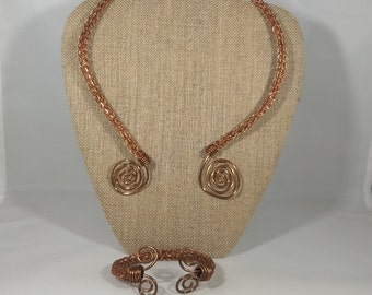 Raw Copper Viking Knit Necklace and Arm ring