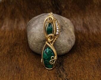 Brass & Malachite pendant