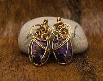 Bronze wrapped purple sea sediment jasper earrings with stainless steel posts