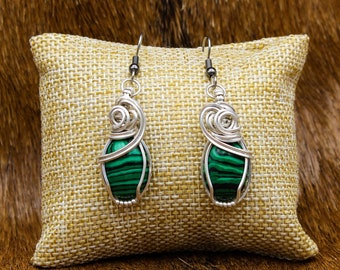 Sterling Silver wrapped Malachite earrings with stainless steel posts