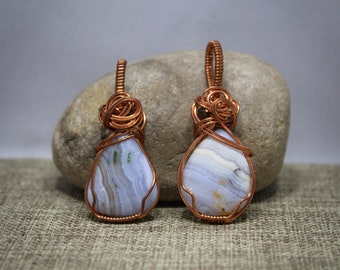 Copper wrapped Lace Agate Pendants