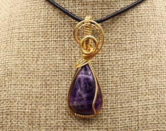Bronze wrapped teardrop Amethyst pendant