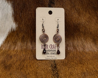 Copper and Garnet Wave Spiral earrings with stainless steel posts (428)