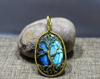Brass and labradorite tree of life pendant