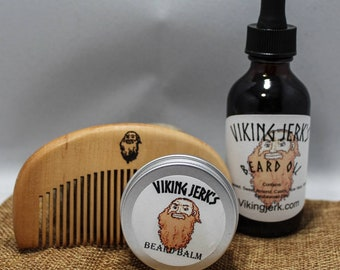 Viking Jerk's All Natural, Hempseed Oil Based Complete Beard Care Kits