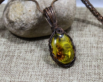 AAA Quality Baltic Amber & Copper Pendant