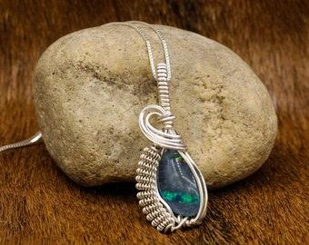 Bergljot - Jarlskona style Sterling Silver wrapped Australian Fire Opal pendant