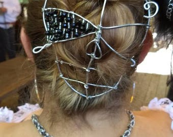 Pirate / skull bun cover with 2 pins / wire hair jewelry / hair pin / hair barrette / hair accessories