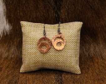 Hammered Copper earrings with stainless steel posts (554)