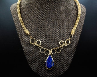 Bronze Lapis Lazuli Elven Swirl pendant on Viking Knit necklace and bracelet set