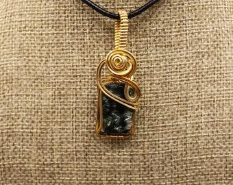Bronze wrapped square seraphinite pendant