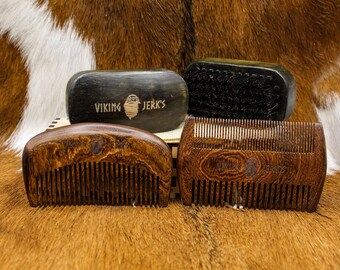 Viking Jerk's Premium Golden Sandalwood Beard Combs and Boar Bristle Brushes