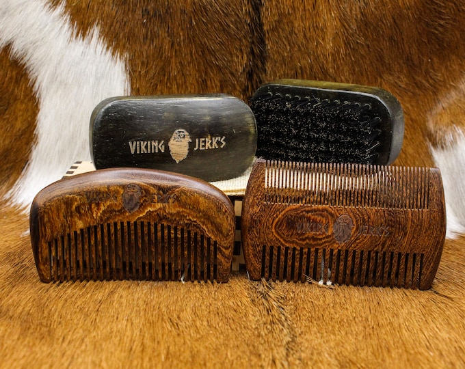 Featured listing image: Viking Jerk's Premium Golden Sandalwood Beard Combs and Boar Bristle Brushes