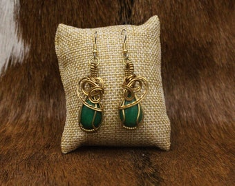 Brass wrapped Malaysian Jade earrings with stainless steel posts (398)