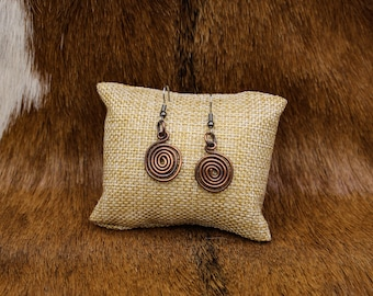 Oxidized Copper Celtic Spiral earrings with stainless steel posts - Simple Celt Series