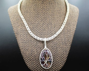 Yggdrasil & Bifrost - Sterling Silver and Labradorite Tree of Life pendant with Viking Knit necklace and bracelet set