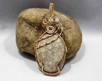 Bronze wrapped palm root fossil pendant