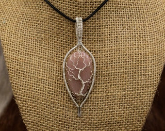 Sterling Silver & pink Sun Stone Yggdrasil pendant