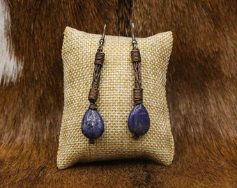 Copper Viking Knit and Lapis Lazuli earrings with stainless steel posts (400)