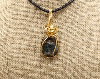 Bronze wrapped coprolite pendant (dinosaur poop!)