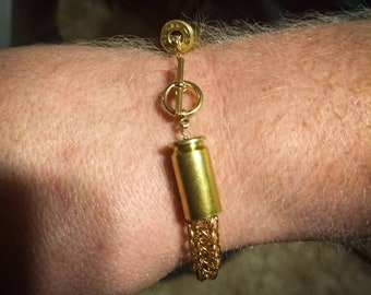 Bronze Viking Knit Bracelet with Bullet Casing end caps - made to size