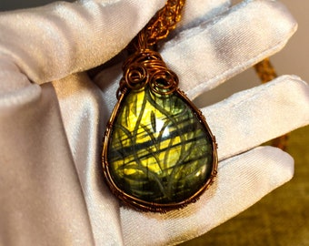 Copper framed carved labradorite pendant