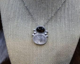Smokey Quartz & Tourmalinated Quartz in Sterling Silver pendant (612)