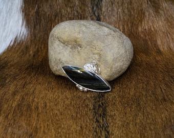 Hekate - Blue Tiger Eye in Sterling Silver pendant - triple moon goddess(618)