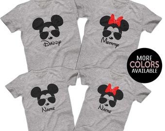 Sunglasses Mickey Minnie Disney Family Shirts Matching Disney Family T-shirts Custom Disney Cruise Group Shirts Men's Women's Youth T-Shirts