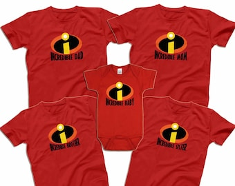8355bf87a Incredibles Family Shirts Mr Incredible Mrs Incredible Shirts Disney Park  Matching Shirts Men's Women's Youth Toddler Infant Shirts