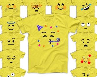Emoji T-shirts Smiley Face Party Roll Eyes Crazy Love Angel Hug Blushed Emojis Halloween Costume Men Women Kids Shirts