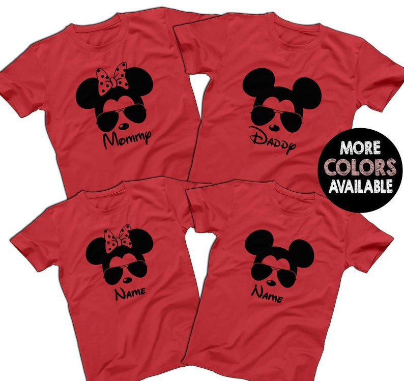 5f08928af Sunglasses Mickey Minnie Disney Family Red Shirts Disney | Etsy