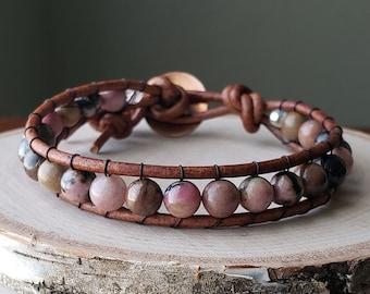 Rhodonite single wrap leather bracelet