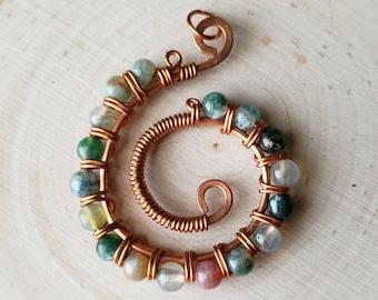 Copper swirl statement pendant with fancy green jasper stones