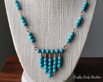 Turquoise howlite and copper statement necklace