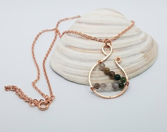 Hammered copper pendant green fancy jasper copper plated cable chain handmade