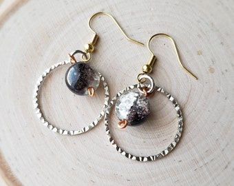 Black and clear crackle glass dangle earrings mixed metal ear wire