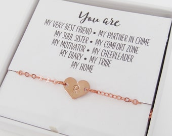 19aa5ff2f33 Best Friend Gift - Best Friend Necklace, Anklet or Bracelet - Small Heart  Initial Charm - Rose Gold, Gold or Silver - Friendship Jewelry