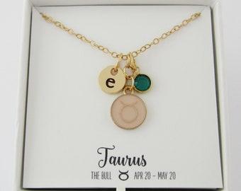 Free Shipping! Bronze Zodiac Hand Beaded Birthstone Necklace Taurus Emerald
