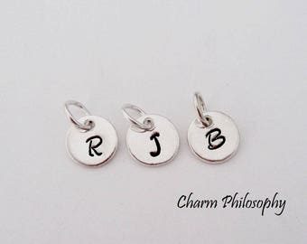 925 Sterling Silver Initial Charm - Round Letter Charm - Silver Handstamped 8mm Monogram Initial - Add on Letter - Alphabet Charms