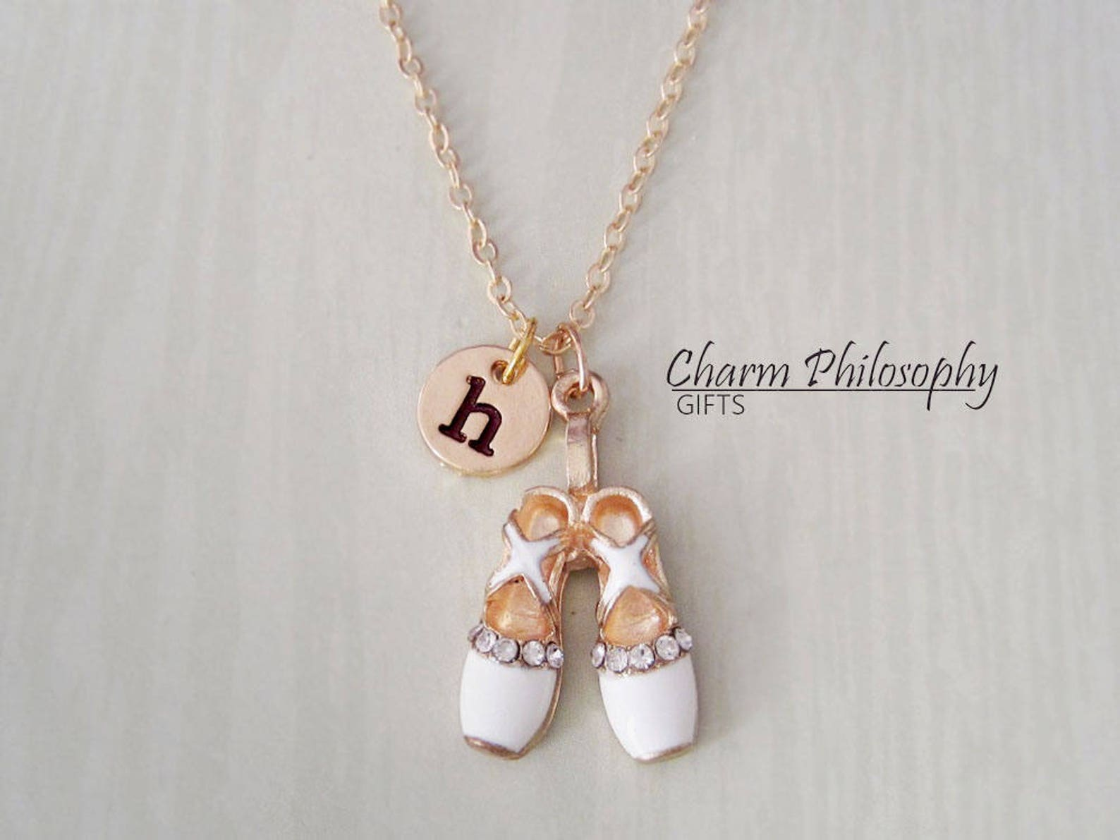 white ballet slippers necklace - personalized monogram initial charm - ballerina gifts - ballet shoes pendant