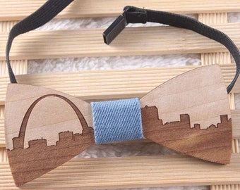 9d53e11c6d0f Men's Aspen Wood Bow Tie-Easy To Wear-Skyline of St. Louis