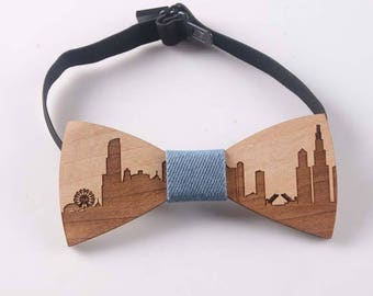 111fbbabbccd Men's Aspen Wood Bow Tie-Easy To Wear-Chicago